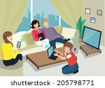 illustration of family using... | Shutterstock .eps vector #205798771