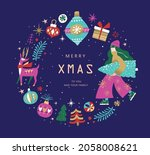 christmas and new year design... | Shutterstock .eps vector #2058008621