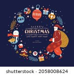 christmas and new year design... | Shutterstock .eps vector #2058008624