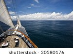 Stern Of Tall Ship Sailing In...