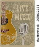 banner with an acoustic guitar... | Shutterstock .eps vector #205812331
