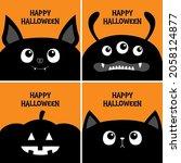 black cat kitten head face  bat ...   Shutterstock .eps vector #2058124877