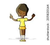 cartoon pretty girl with idea | Shutterstock . vector #205820164