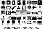 electronic black filled icons...