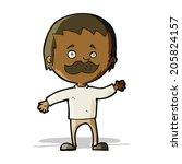 cartoon man with mustache waving | Shutterstock . vector #205824157