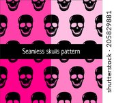 seamless with skulls. vector... | Shutterstock .eps vector #205829881