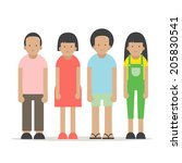 boys and girls  vector  | Shutterstock .eps vector #205830541
