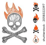 vector wire frame death fire.... | Shutterstock .eps vector #2058322397