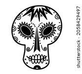 white sugar skull vector icon....   Shutterstock .eps vector #2058429497