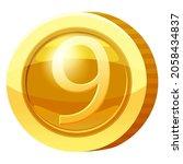gold medal coin number 9 symbol....