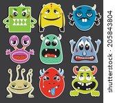 vector illustration set of cute ... | Shutterstock .eps vector #205843804