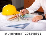 architect designing house for... | Shutterstock . vector #205848991