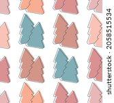 christmas tree seamless pattern.... | Shutterstock .eps vector #2058515534