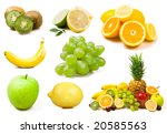 lot of fresh fruits isolated on ... | Shutterstock . vector #20585563