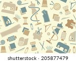 sewing and needlework background | Shutterstock .eps vector #205877479