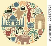icons of india in the form of a ... | Shutterstock .eps vector #205877524