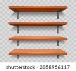 wood wall shelf set. library... | Shutterstock .eps vector #2058956117