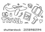set of hand drawn travel doodle.... | Shutterstock .eps vector #2058980594