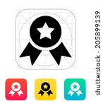 medal with star icon. vector...