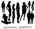 young people silhouettes | Shutterstock .eps vector #205899415