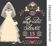 bridal shower invitation  card ... | Shutterstock .eps vector #205904161
