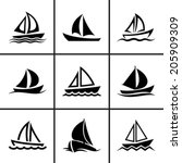 sail boat icons set vector... | Shutterstock .eps vector #205909309