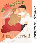 just married wedding invitation ...   Shutterstock .eps vector #205909927