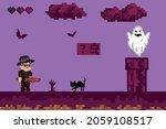 halloween pixel game. retro art ... | Shutterstock .eps vector #2059108517
