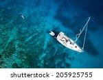Amazing View To Yacht  Swimmin...