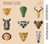 Animal Portrait Set with Flat Design. Vector Illustration