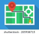 gps map. top view with simple... | Shutterstock .eps vector #205938715