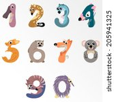 Numbers like Australian animals / Solid fill vector cartoon illustration - stock vector