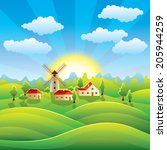 summer village background with... | Shutterstock .eps vector #205944259