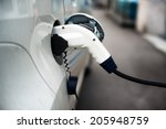 charging an electric car with... | Shutterstock . vector #205948759