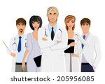 serious male doctor with... | Shutterstock .eps vector #205956085