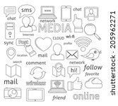 social media sign for blogging... | Shutterstock .eps vector #205962271