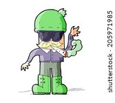 cartoon man smoking pot | Shutterstock . vector #205971985