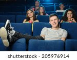 watching a movie. young men... | Shutterstock . vector #205976914
