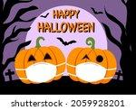 pumpkin wearing medical face... | Shutterstock .eps vector #2059928201
