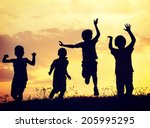 children playing on summer... | Shutterstock . vector #205995295