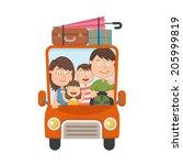 family traveling in car vector | Shutterstock .eps vector #205999819