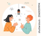 podcast and interview concept...   Shutterstock .eps vector #2060059994