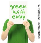 a young man holding a poster... | Shutterstock . vector #206006875