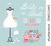 bridal shower card with floral ... | Shutterstock .eps vector #206011441