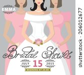 bridal shower card with bride...   Shutterstock .eps vector #206012677