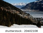 View at the lake of Zell am See in Austria, popular holiday village, in winter time. - stock photo