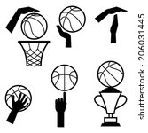basketball icon set of gestures ...