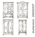 set of hand drawn wardrobes.... | Shutterstock .eps vector #206032537