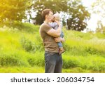 sensual father and child relax...   Shutterstock . vector #206034754