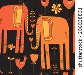 vector hand drawn seamless... | Shutterstock .eps vector #206038831